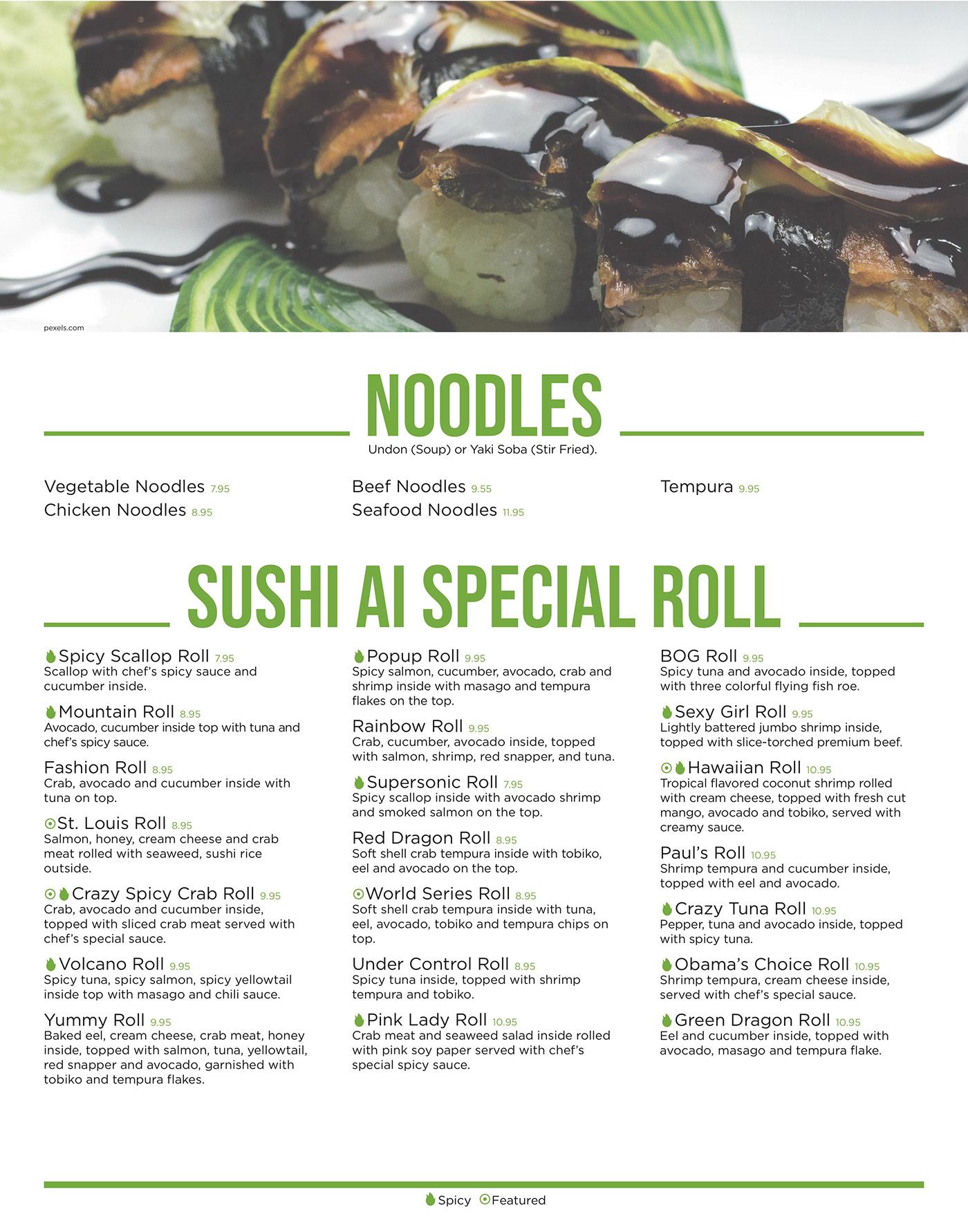 Sushi Ai Menu Case Study On Behance