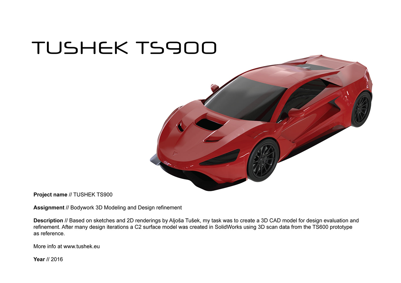 tushek ts600 TS900 hypercar Sportscar bodywork modeling