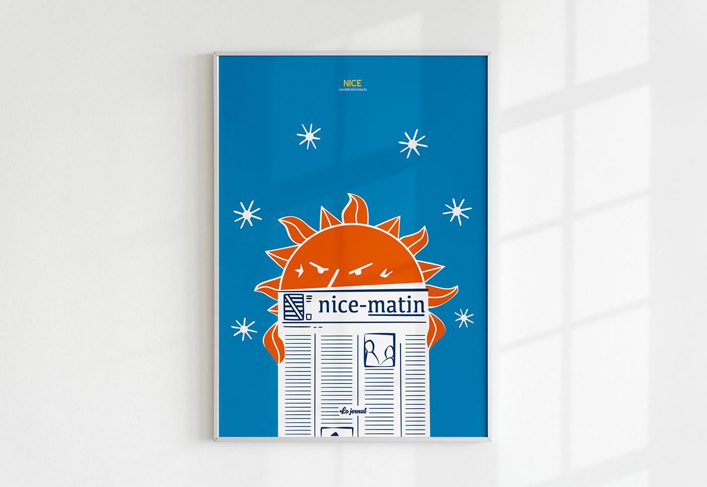 #ilovenice affiche Nice french riviera issa nissa lecoupdulapin nice matin nissa nissarde poster Nice Ville de Nice