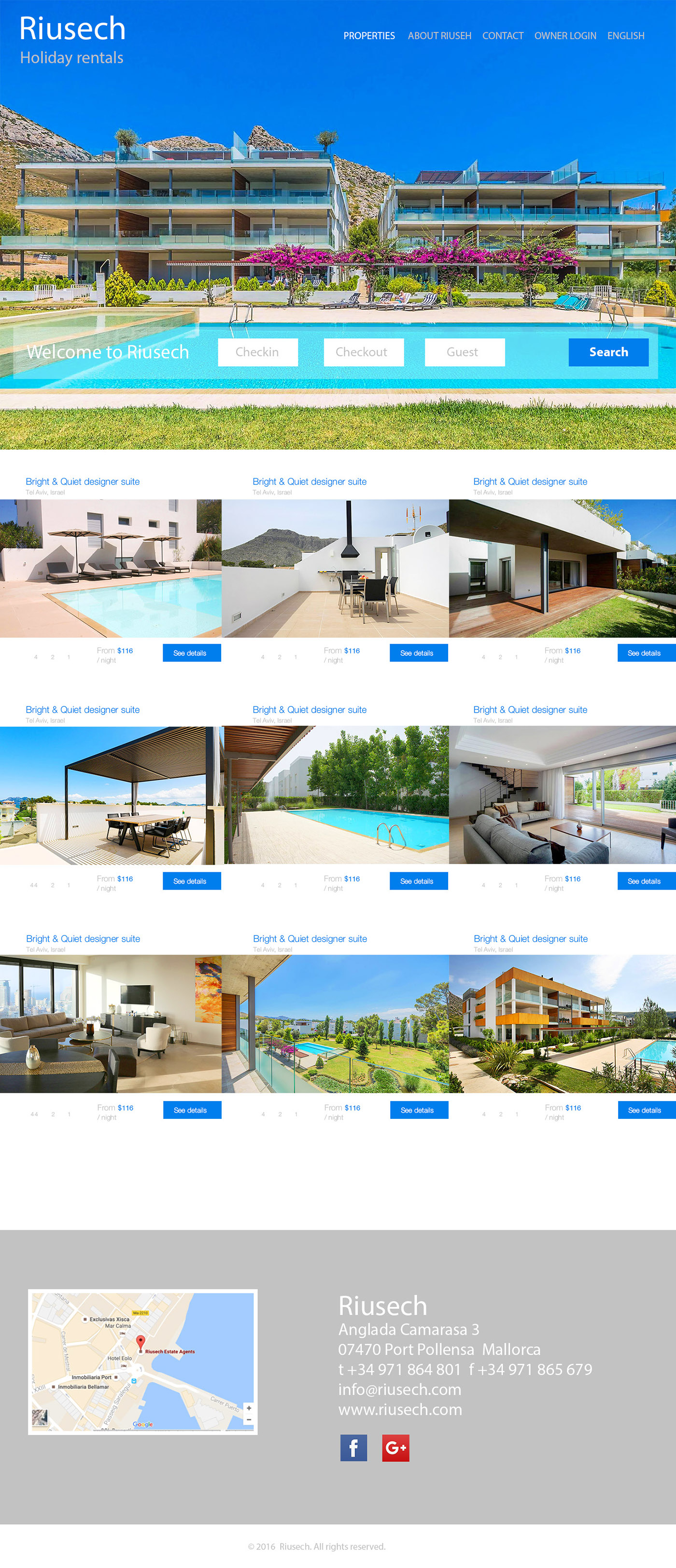 Riusech Holiday Rentals Web design