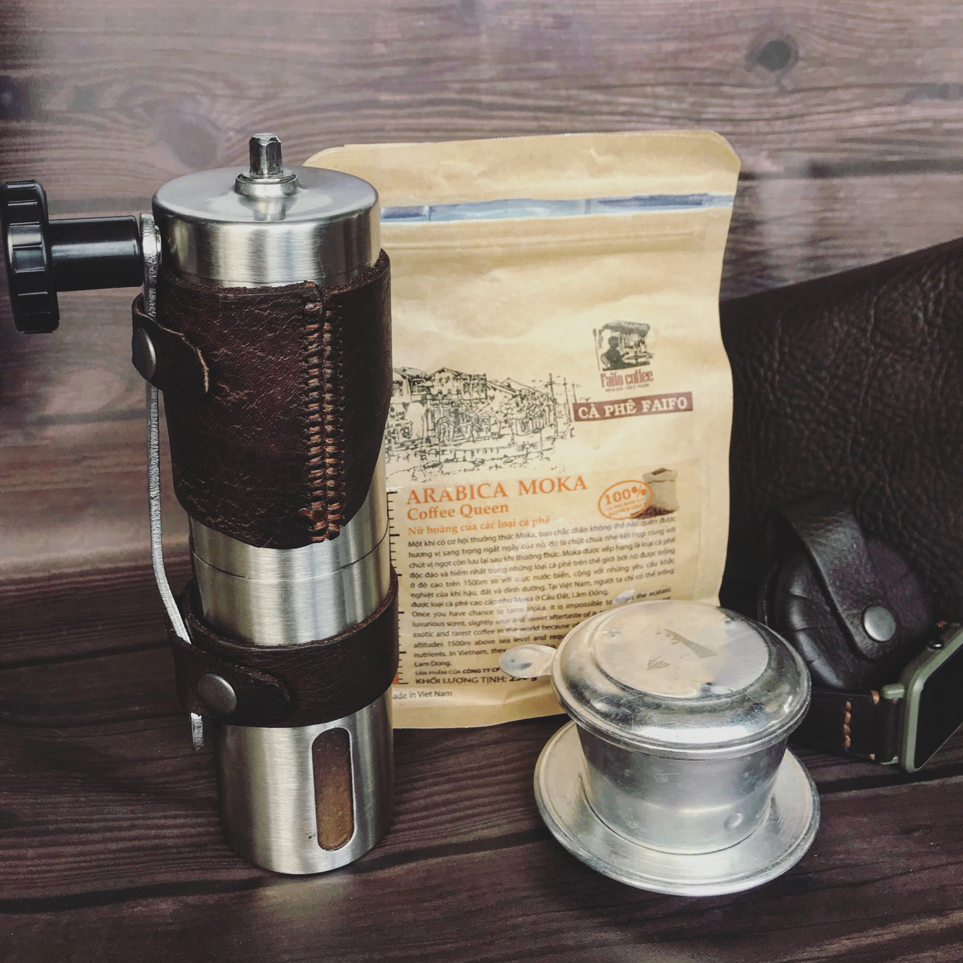 leather vietnamcoffee faifo coffee design logo