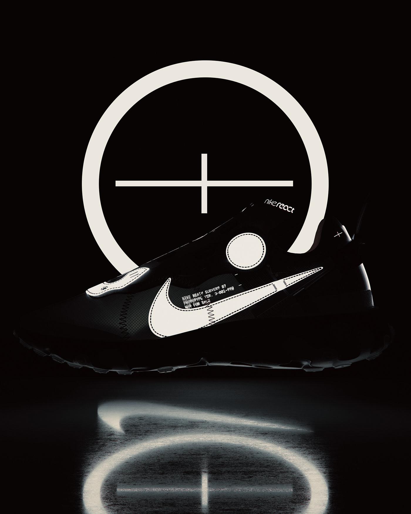 Nike footwear shoe industrial design  rendering product render Fashion  sneaker 3D Cyberpunk