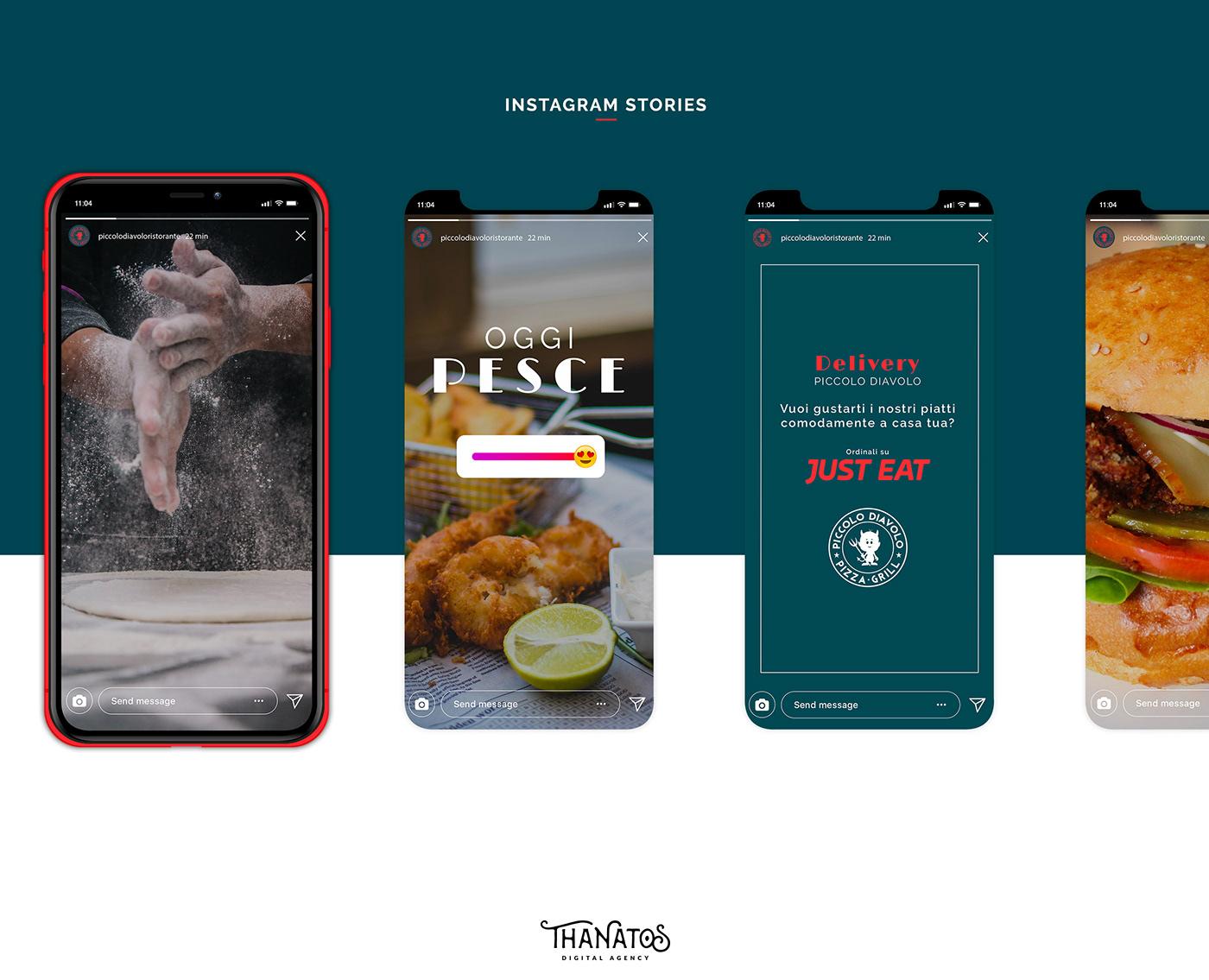 social media restaurant Food  facebook instagram Stories Pizza graphic design  Web Design  Social Strategy