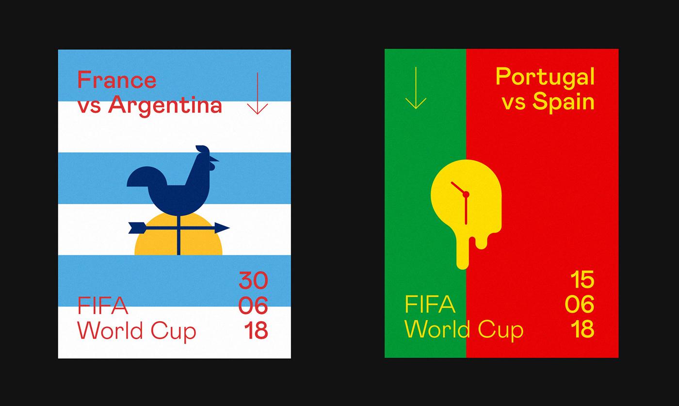 football soccer FIFA world cup Russia minimalist playfull poster art direction  ILLUSTRATION