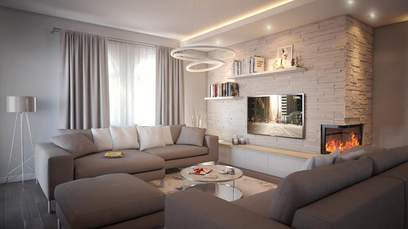 interior design  HOUSE DESIGN contemporary kitchen design furniture design  living room kids room Attic family house fireplace