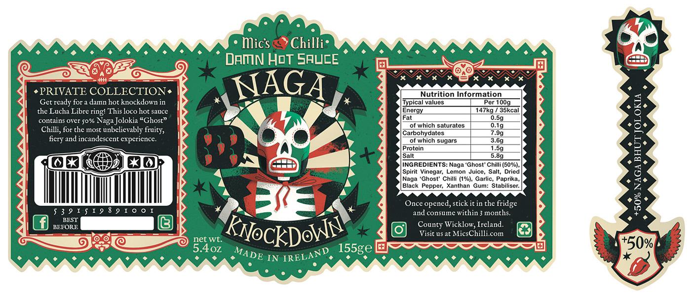 packaging design illustrated Illustrator hot sauce folk art HAND LETTERING hand drawn type skull mexican wrestler scorpion