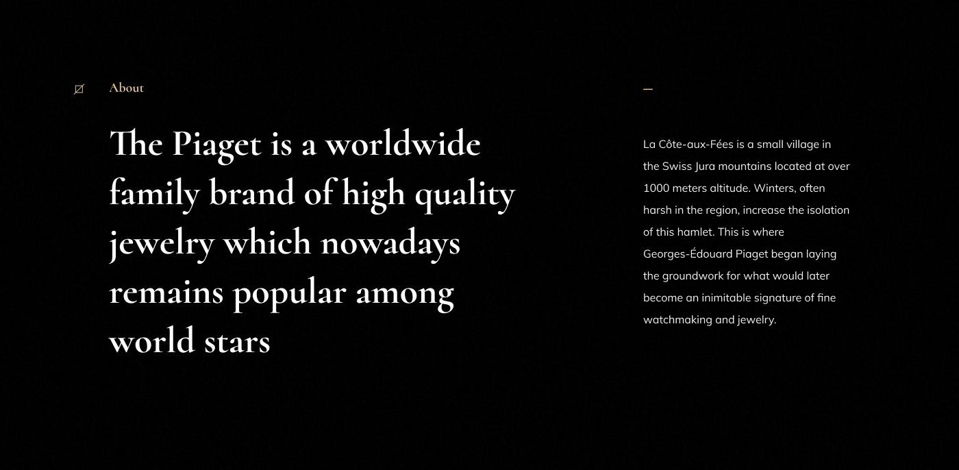 ux/ui Webdesign digital jewelry agency piaget Website corporate e-commerce company