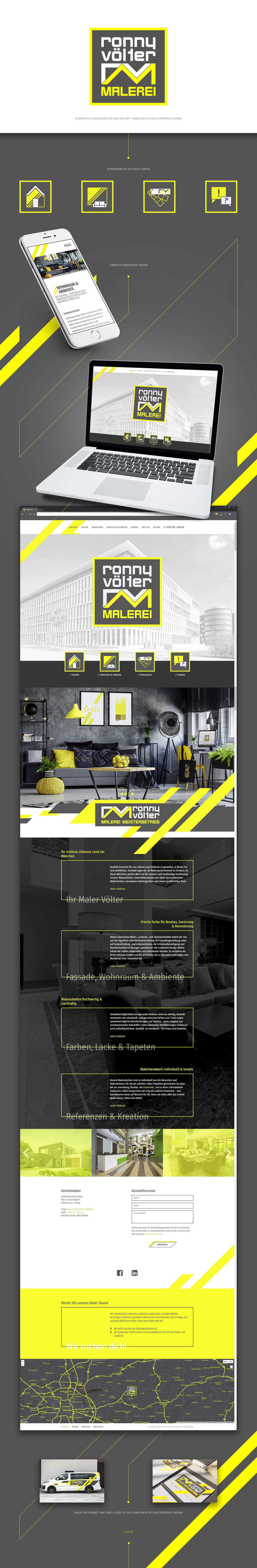 Corporate Design Webdesign painter Business Website neon yellow black grey #HP   Responsive