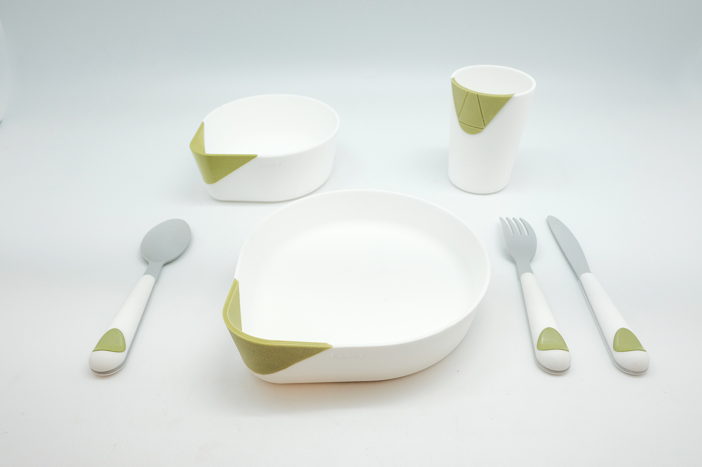 Eatsy is a set of multi-functional tableware consisting of a plate bowl cup and utensils. Each of them has a unique feature with subtle details that ... & EATSY - Adaptive Tableware for the Visually Impaired on Behance
