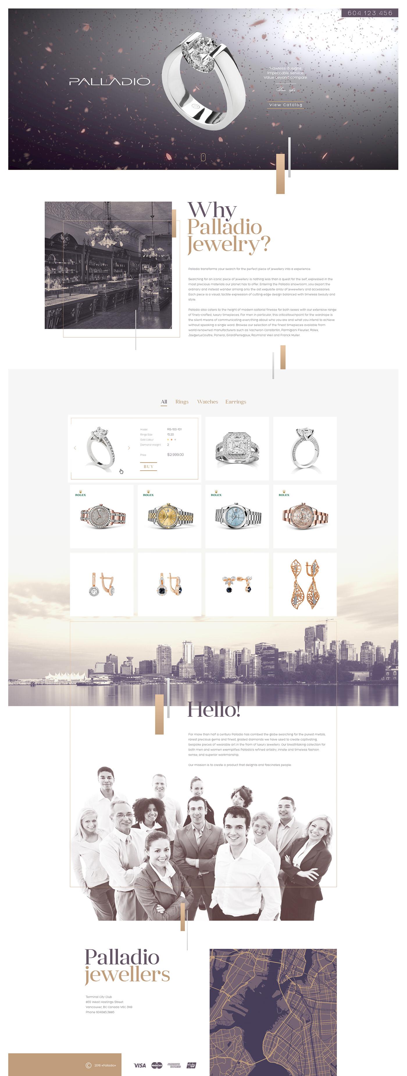 Palladio Website Design Webdesign UI/UX дизайн сайта jewelry landing page beauty ring