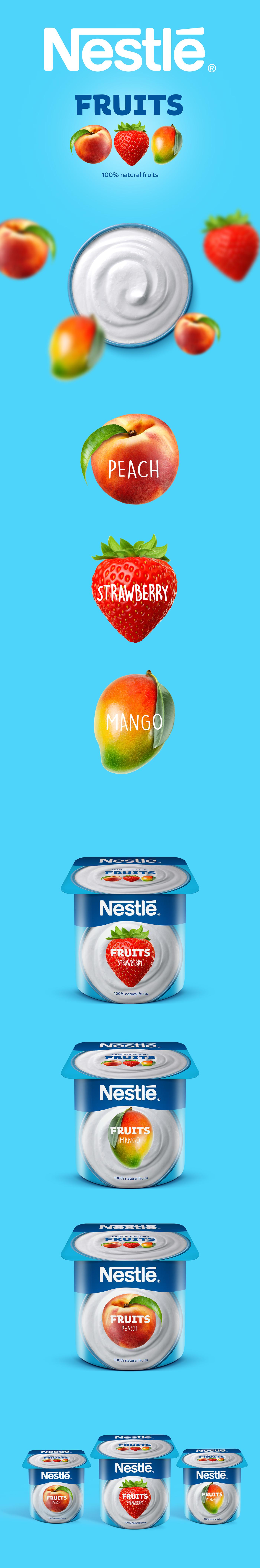 nestle fruits strawberry peach Mango yogurt mix packaging design packs cups leoburnett