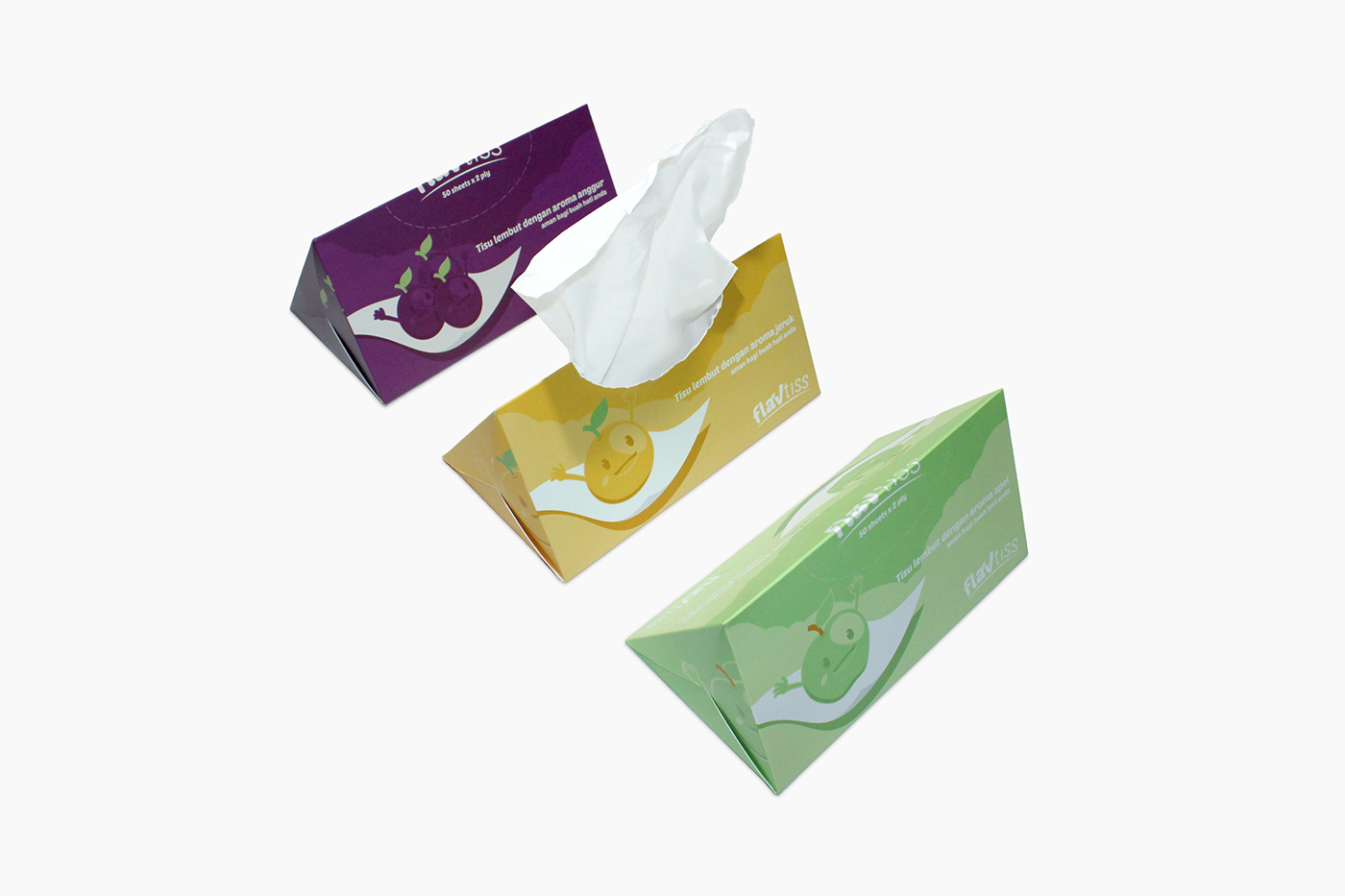 tissue Packaging colorful kids orange apple grape modular Sustainable glueless