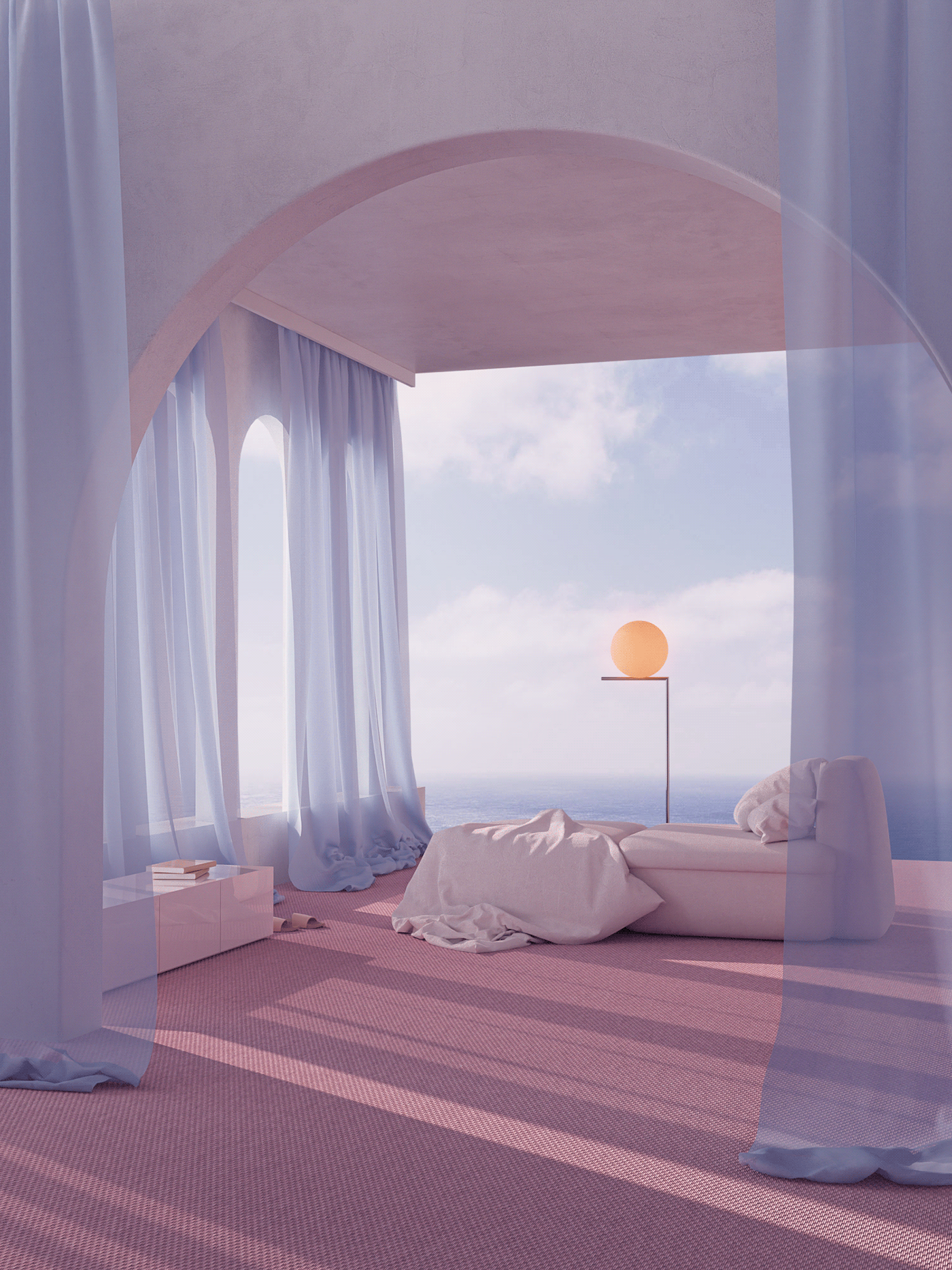 3D minimal surreal abstract pastel Interior architecture aesthetic pink modern