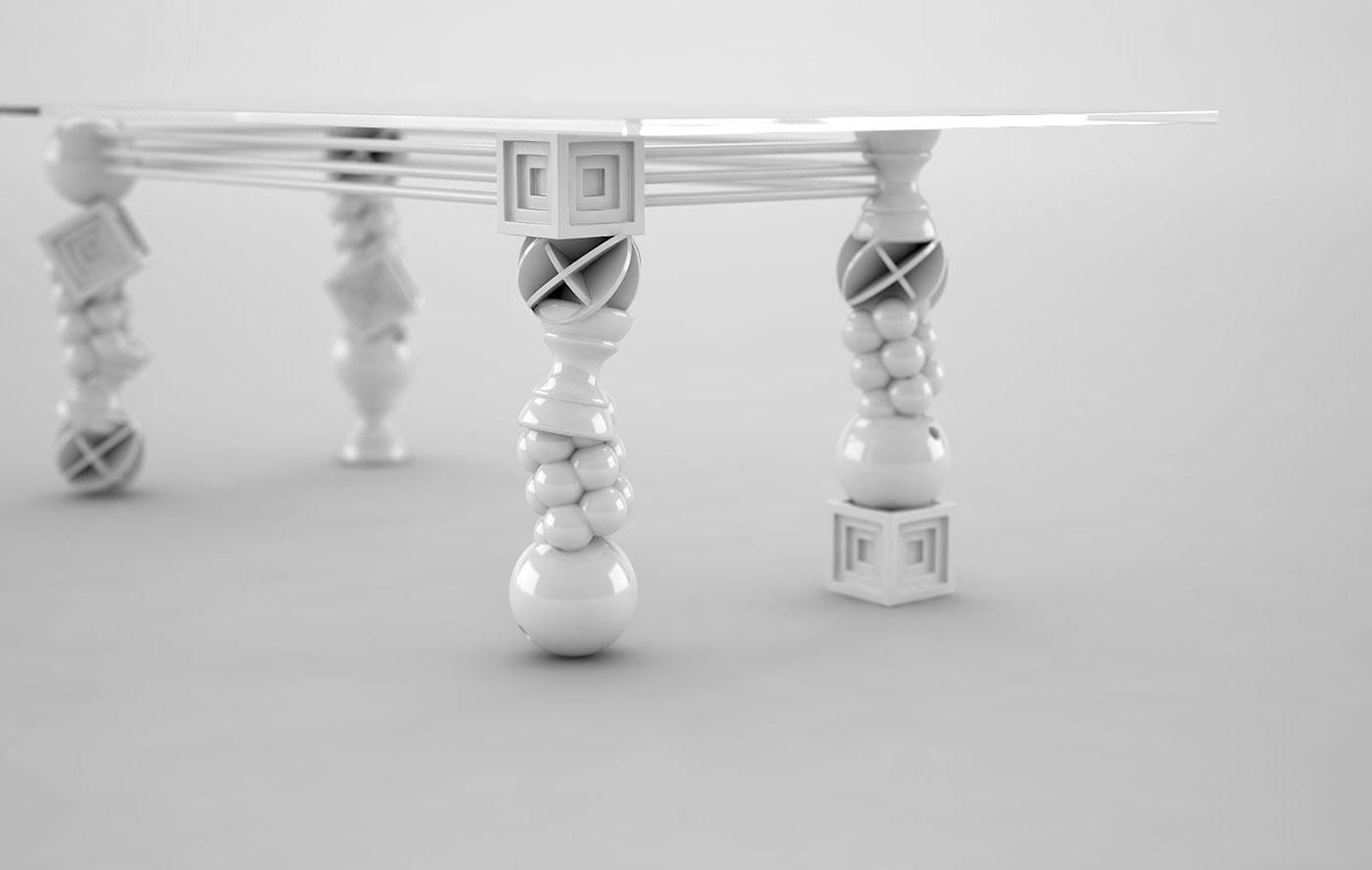 Adobe Portfolio tchotchke toy kitsch White black gold table furniture contemporary