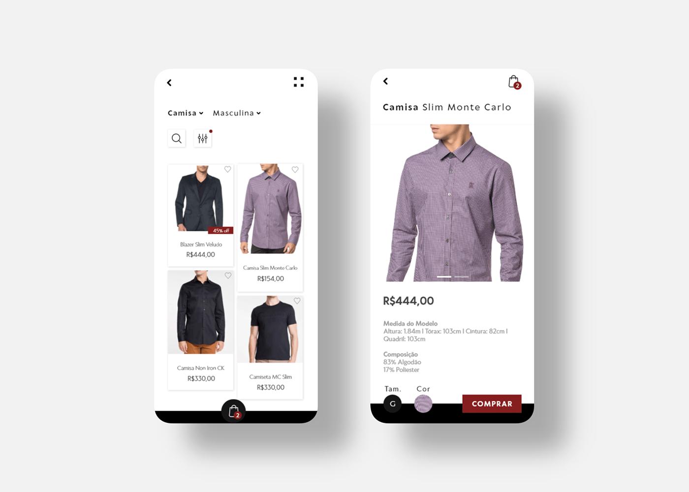 app Calvin mobile ui design UX design