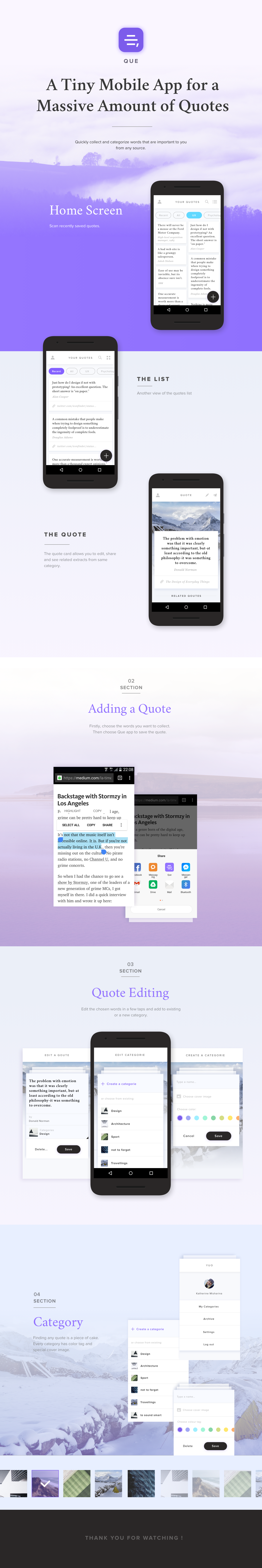 quote UI ux android material categories Collection interaction