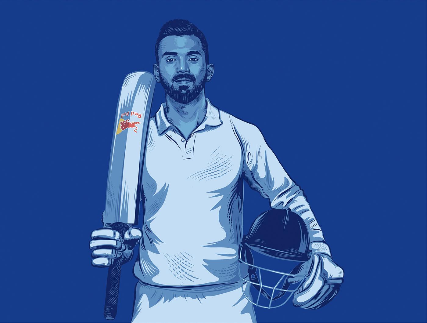 art Cricket Drawing  ILLUSTRATION  player portrait sport illustration