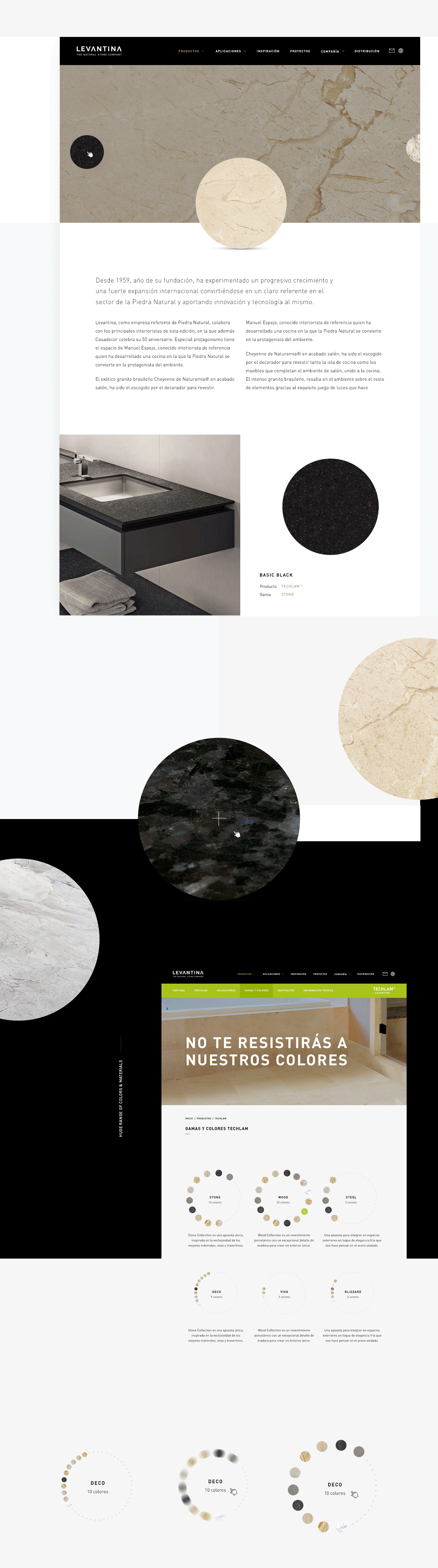 Responsive Web ux UI app device Levantina stone interaction black