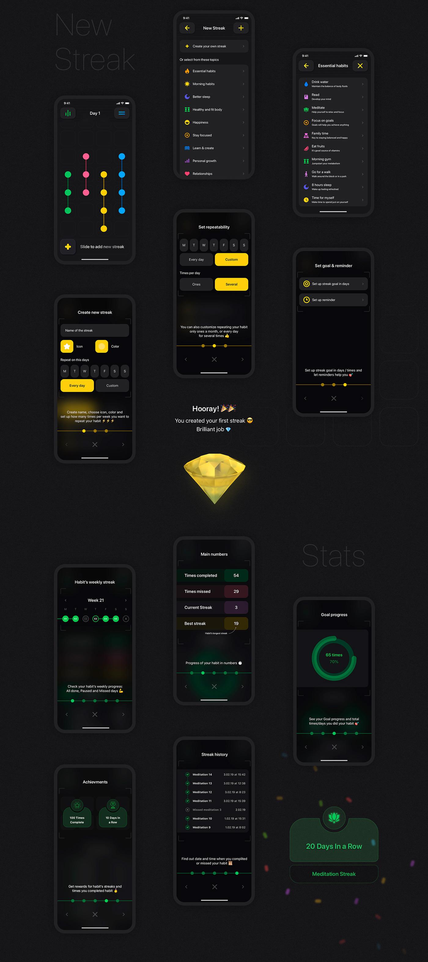 app design habit mobile ui ux streak UI ux app design ios iOS design