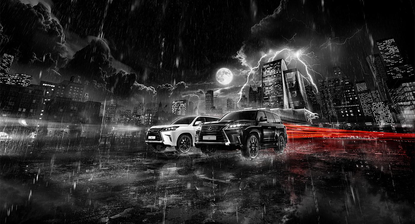 Lexus car 3D Render CGI CG postproduction retouching  Mattepainting