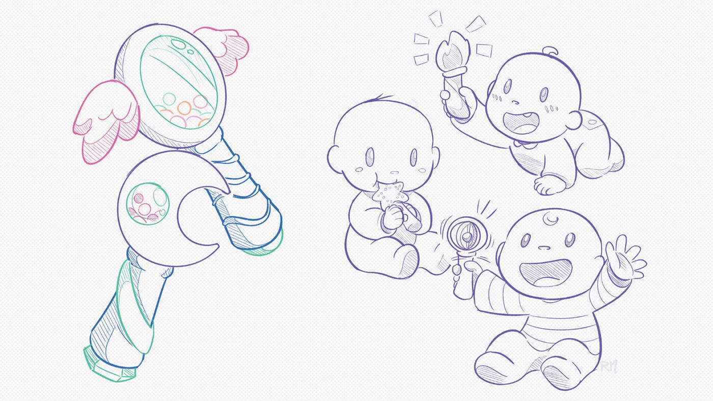 magic wand,RATTLE,baby,toys,cute,vector