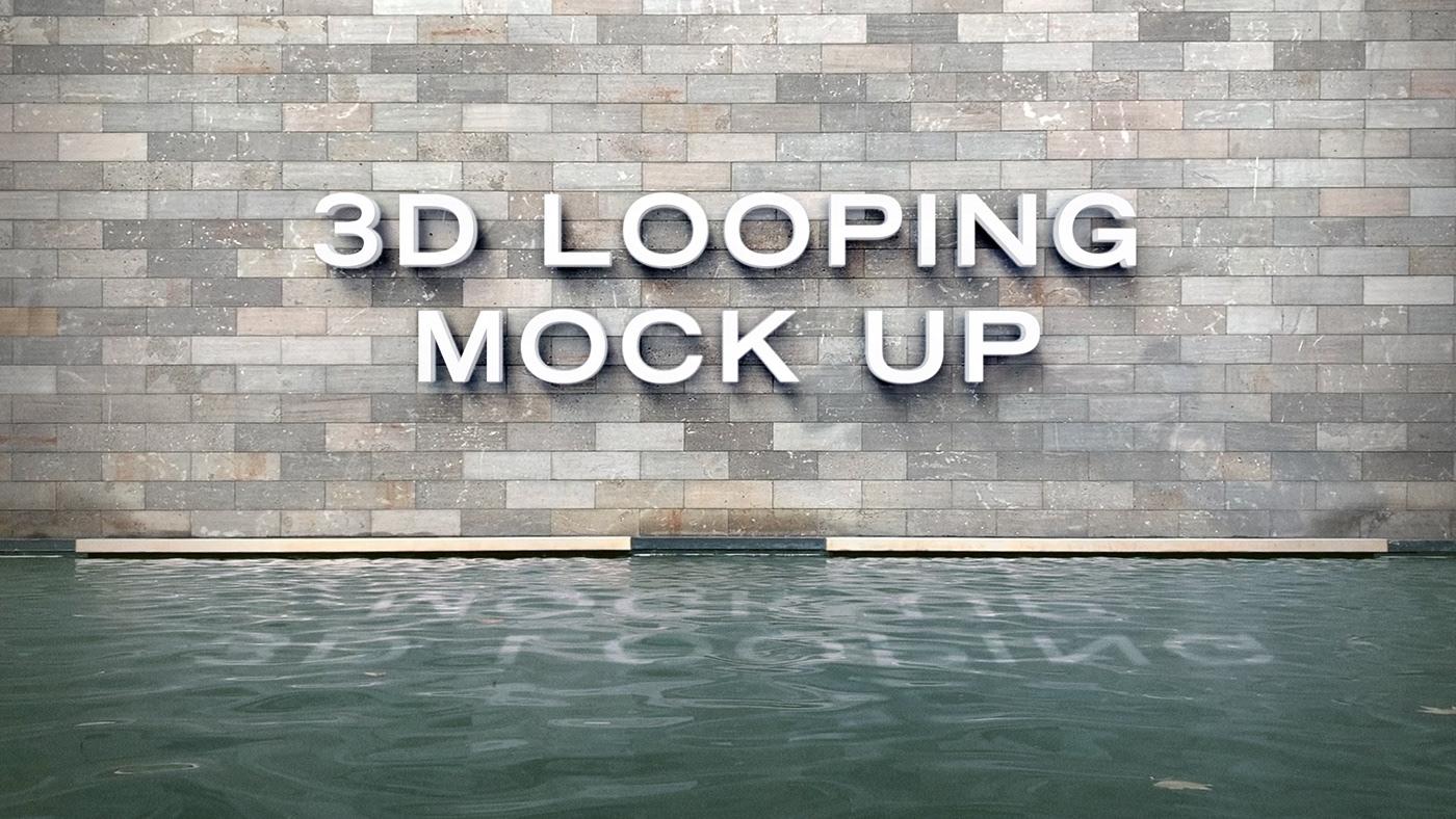 Mockup animated free looping logo 3D wall water mock