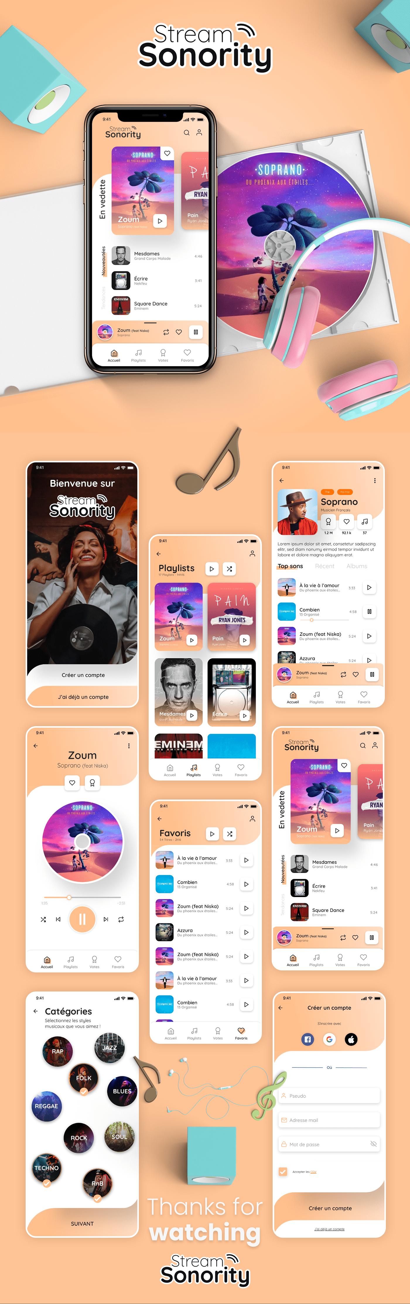 app application design designer mobile music Streaming UI UI/UX ux
