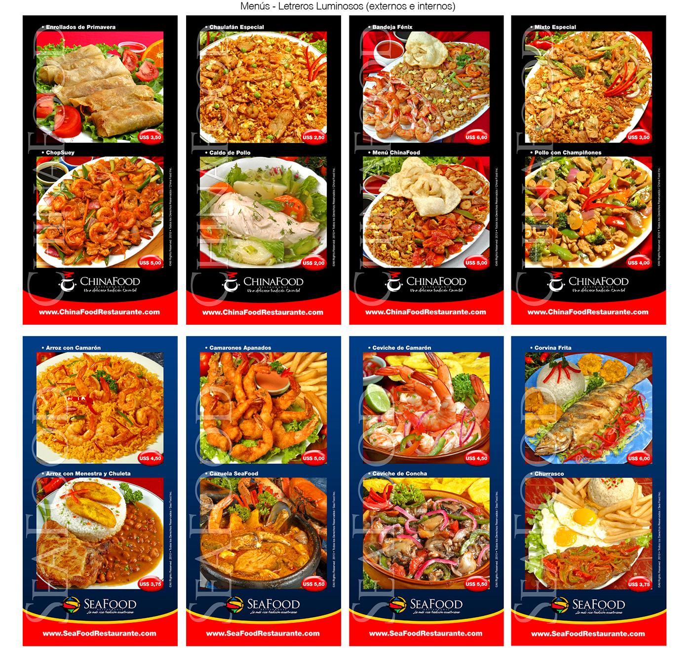 seafood chinafood restaurant ecuadorian foods gastronomy logos brochure posters color Ecuador