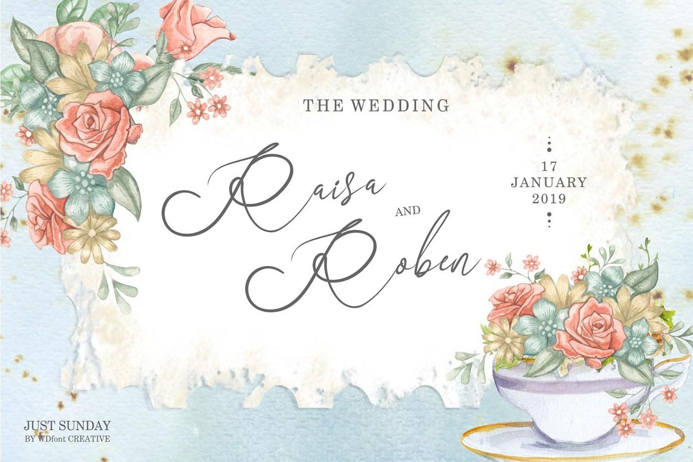 Just Sunday wedding Love valentine Script font