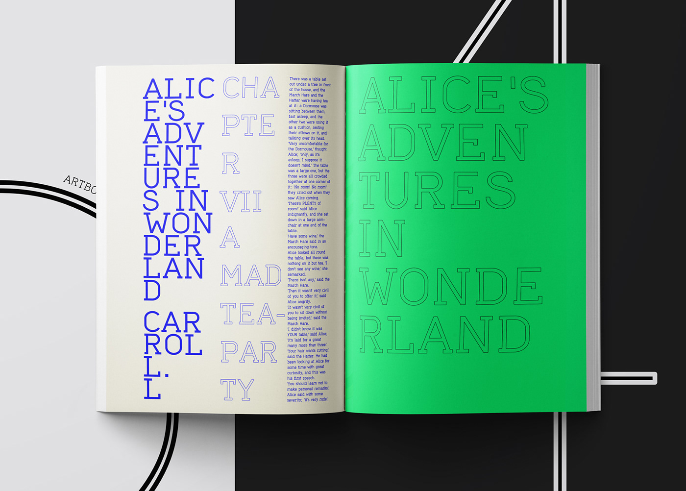 Layouts and typographic compositions for art books and magazines