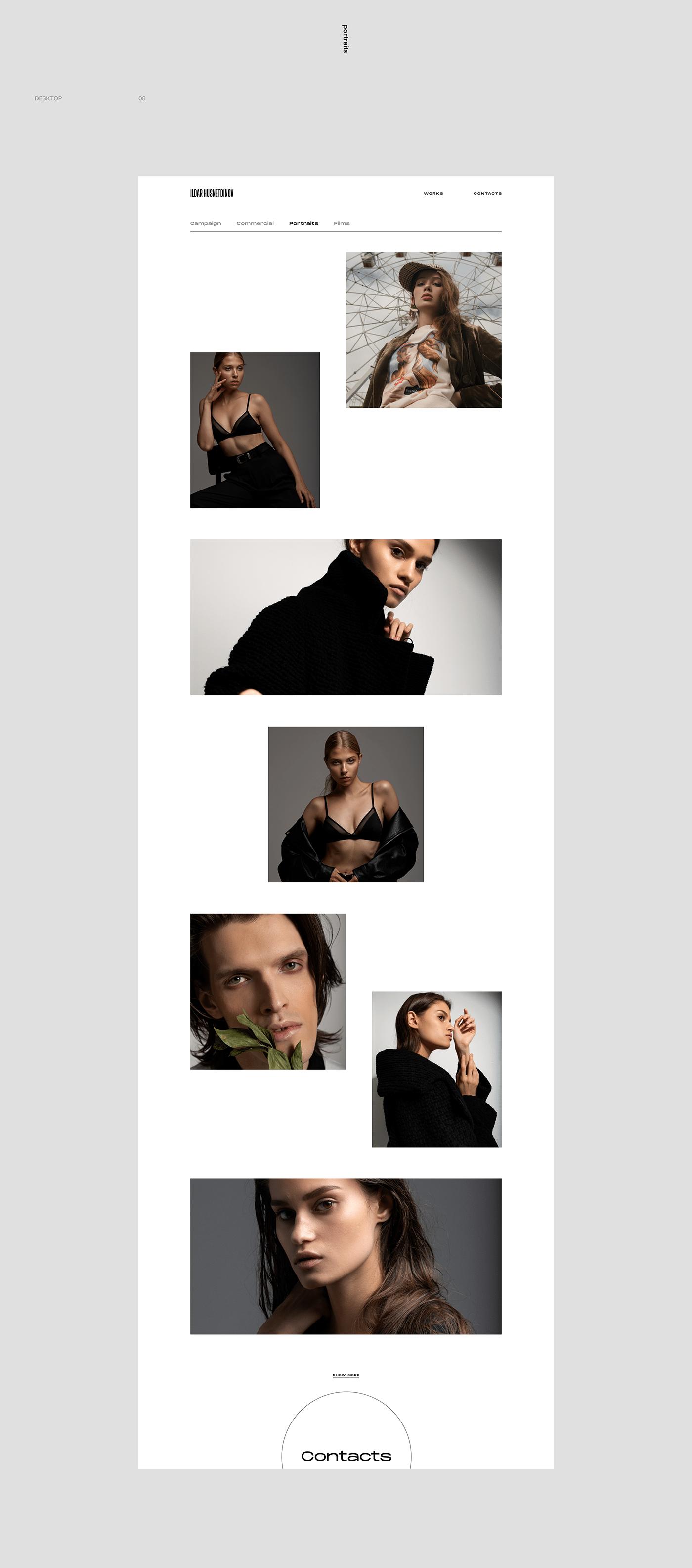 adobe Adobe After Effects Adobe Photoshop adobexd Fashion  Figma photographer portfolio responsiveness UI/UX