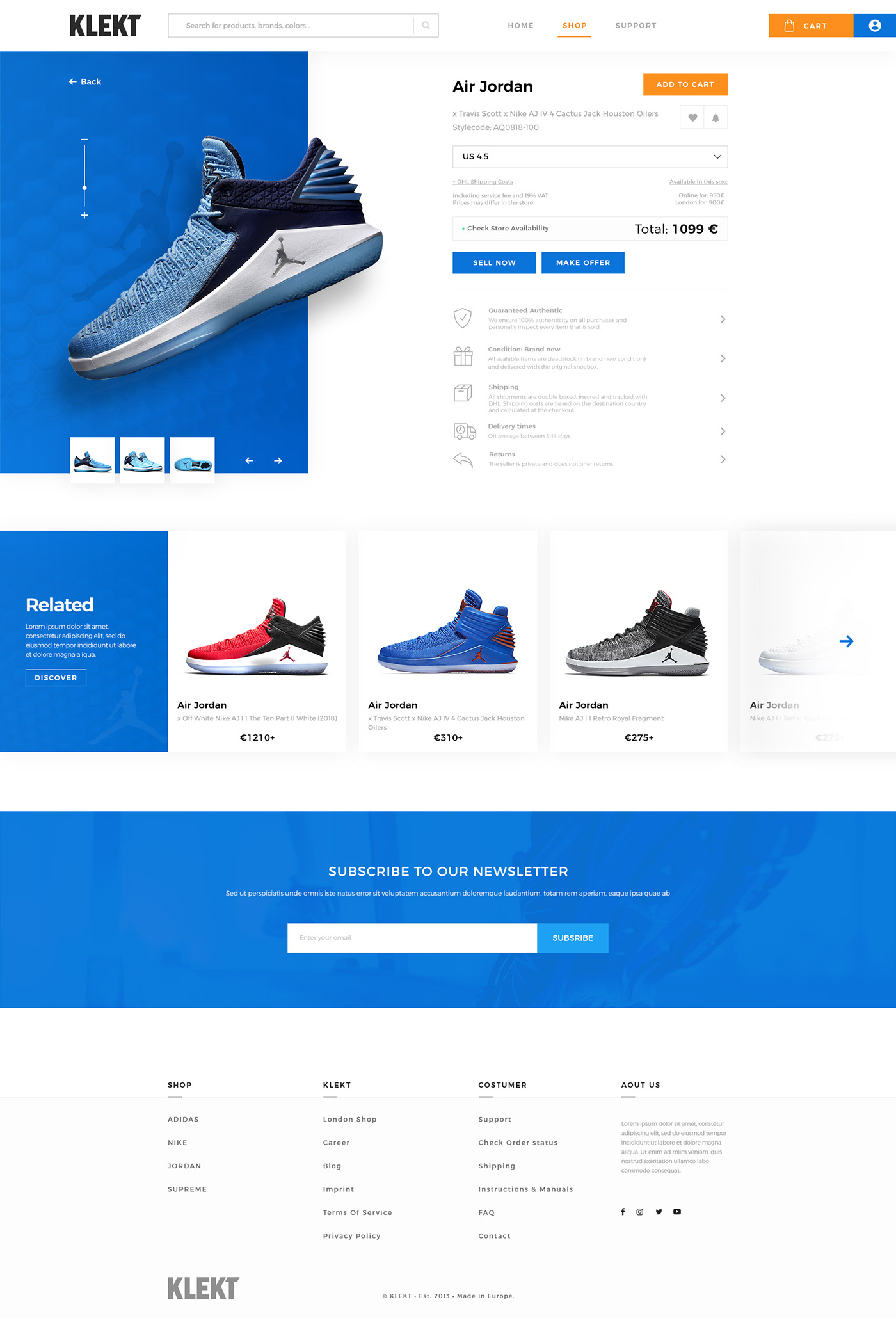 UI ux Website redesign branding  blue orange Interface e-commerce sport