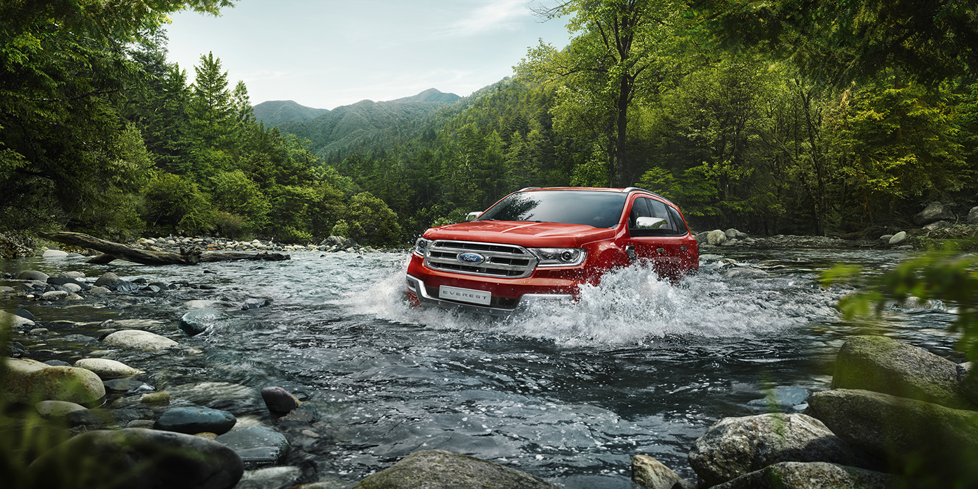 Ford car china 3D retouch automotive   mountains water suv Car launch
