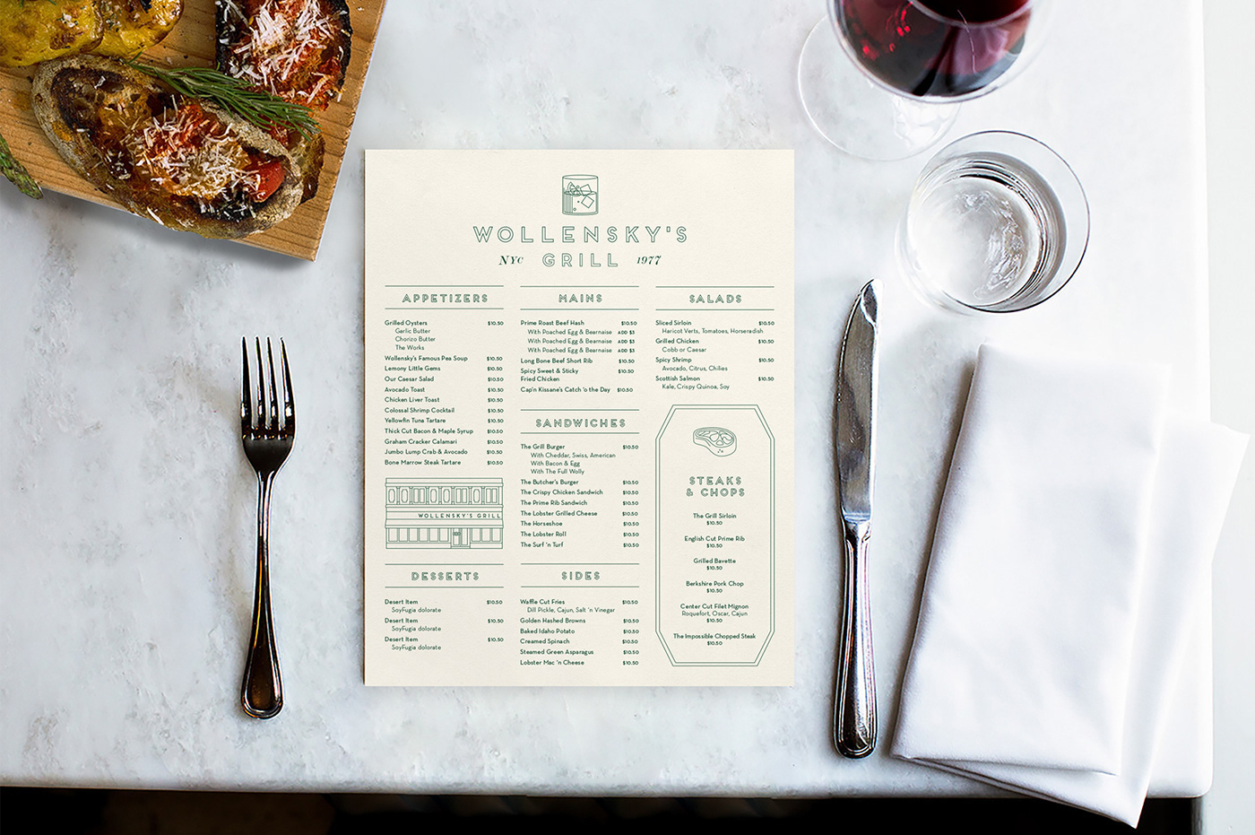 Image may contain: indoor, tableware and menu