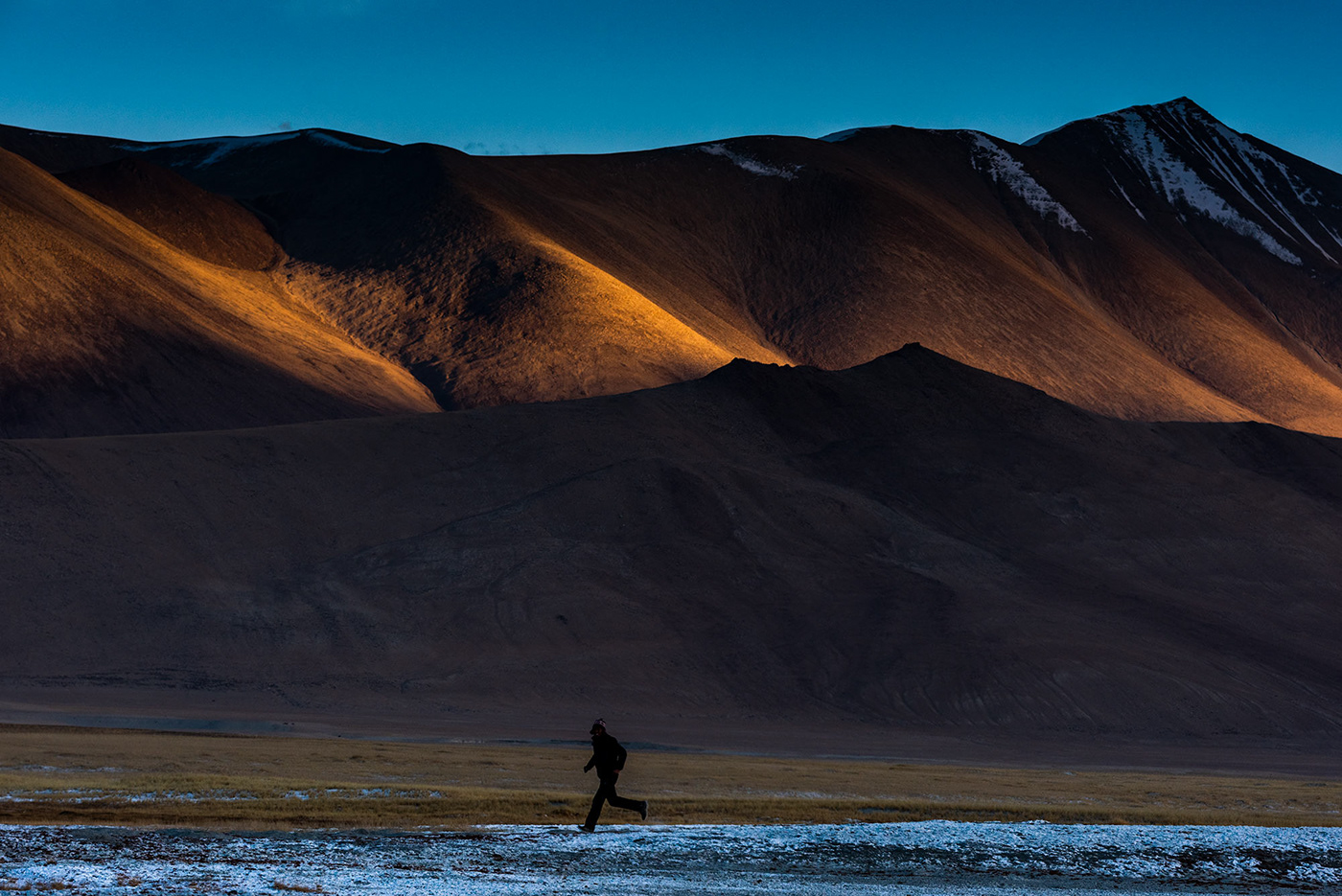 A changpa nomad  jogs back home in Ladakh, India