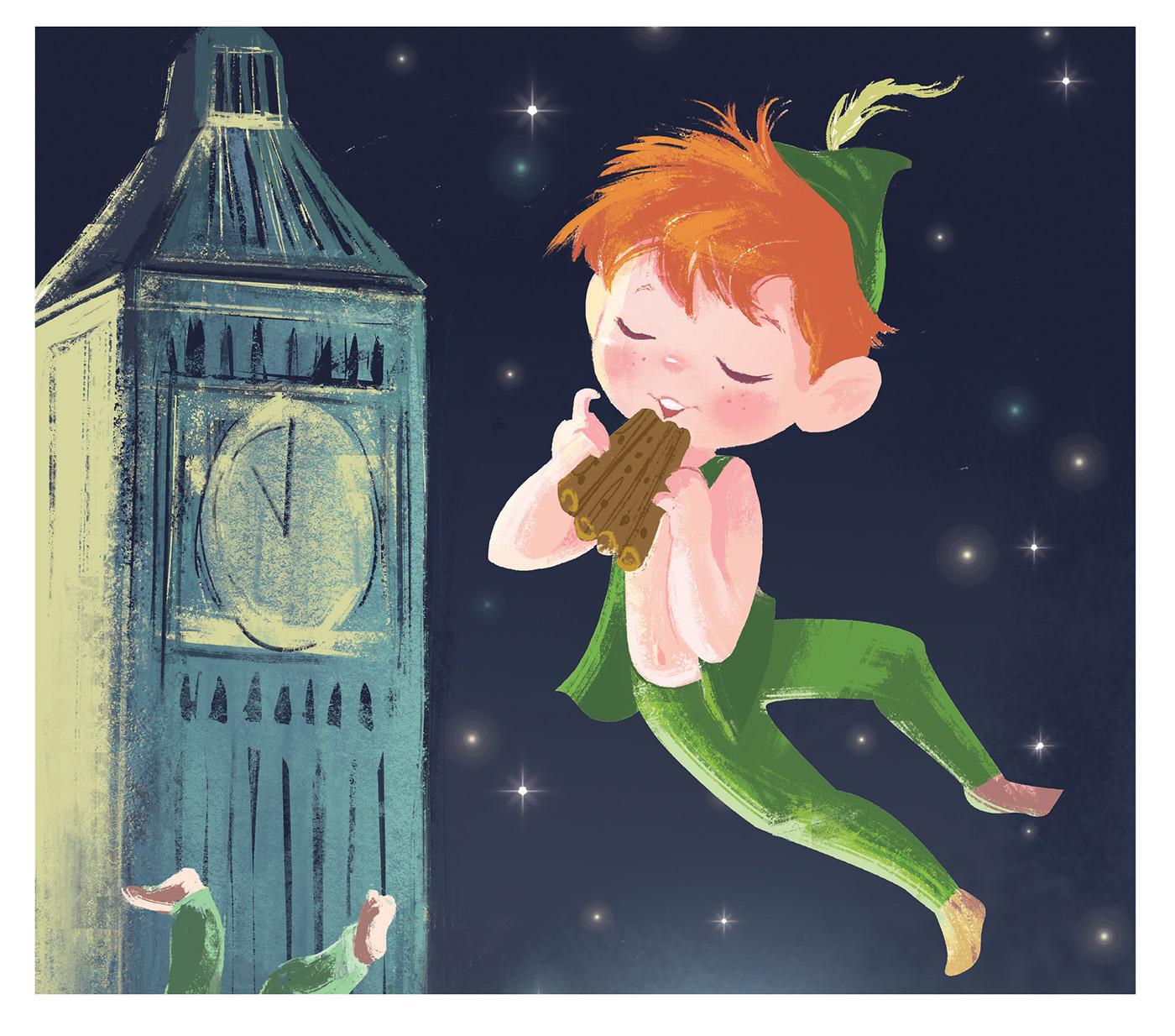peter pan children ILLUSTRATION  Character design  children's book digital paint Magic   fairy London big ben