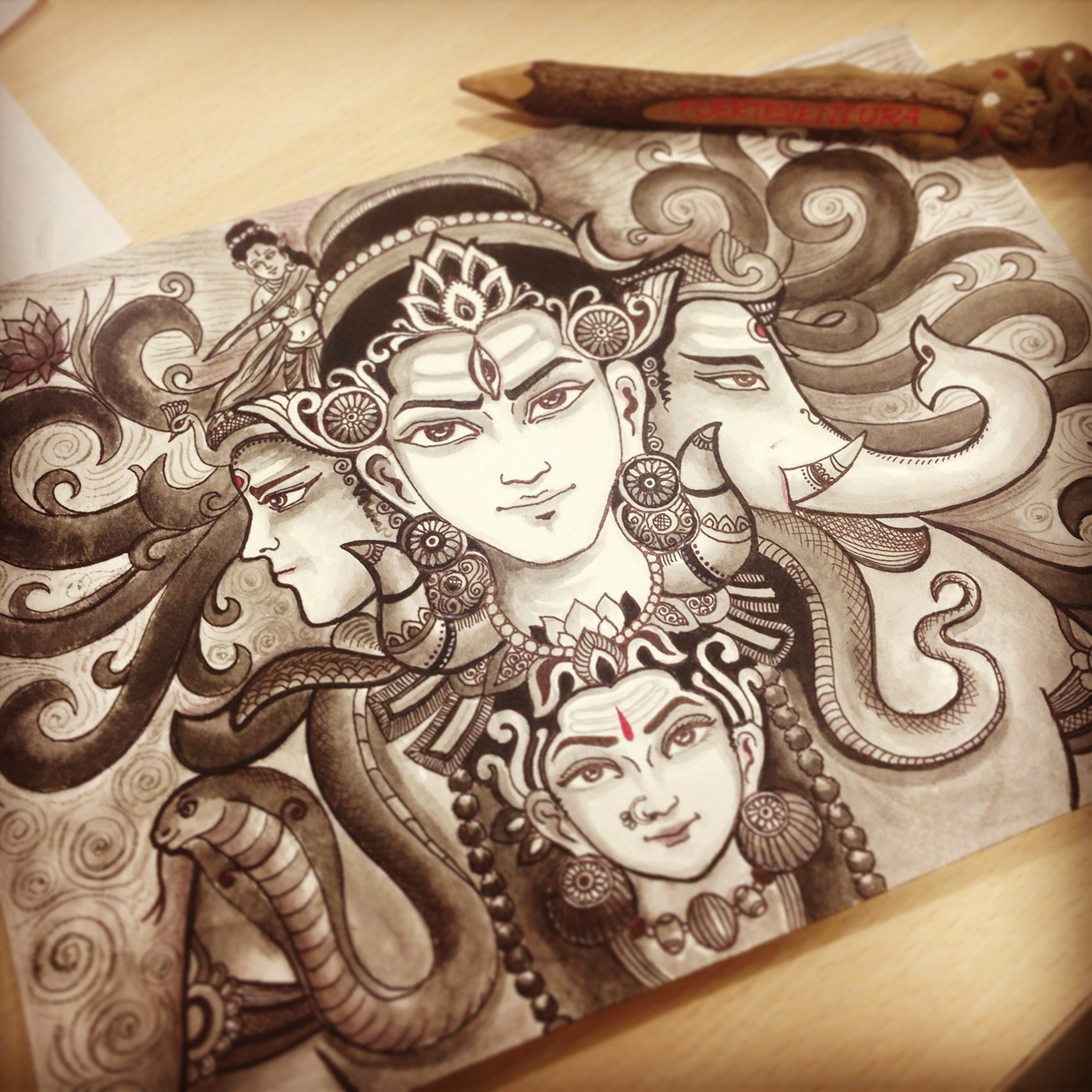 Shiva Drawing On Behance