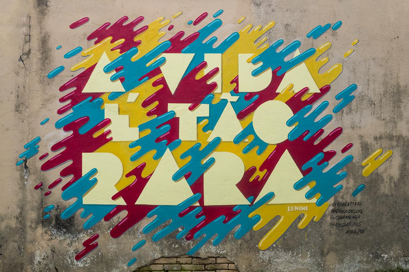 Mural art Lyrics lettering Handlettering painting   wall muro
