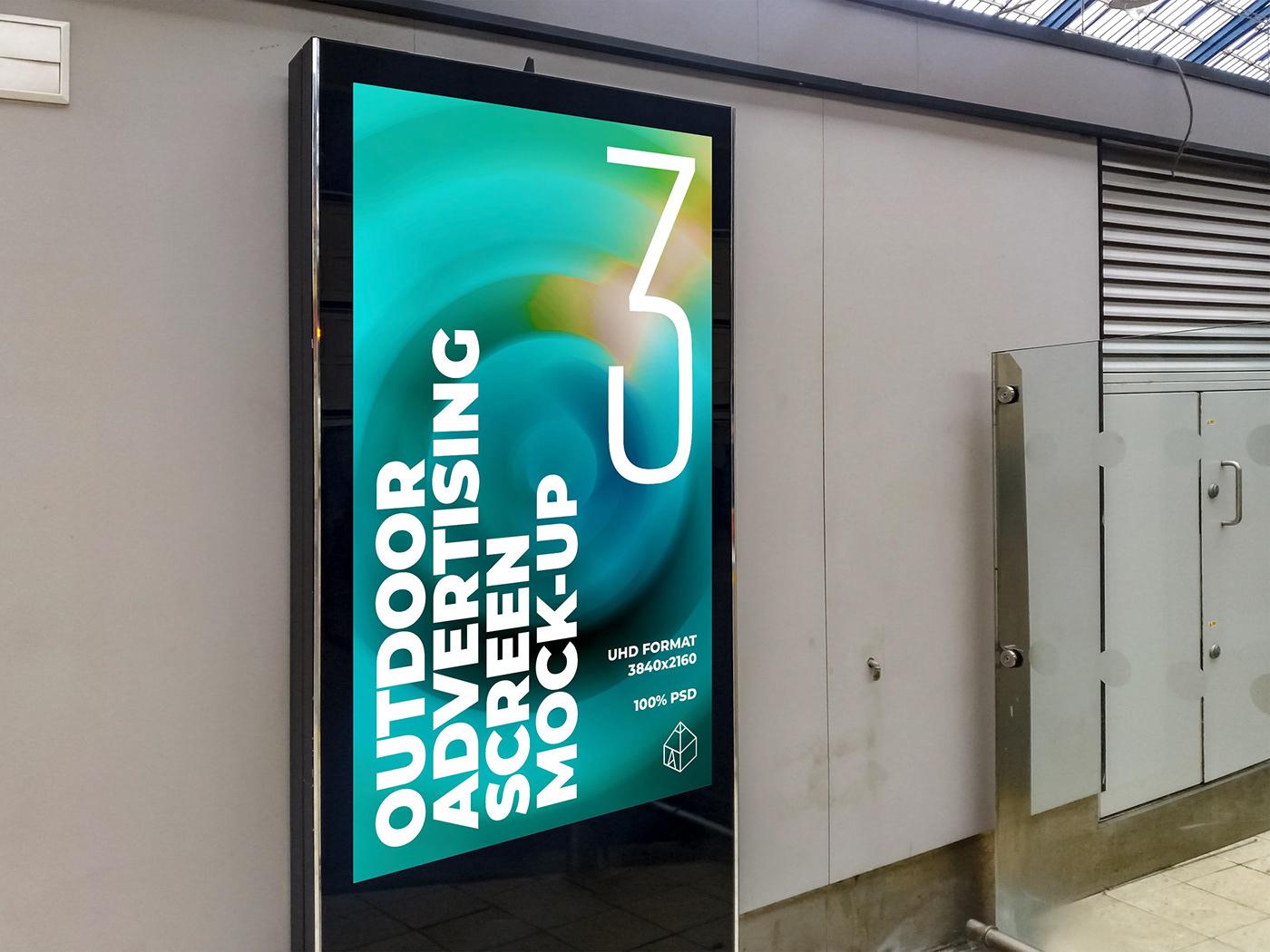 ad advertisement Advertising  design mock-up Mockup Outdoor poster screen Street