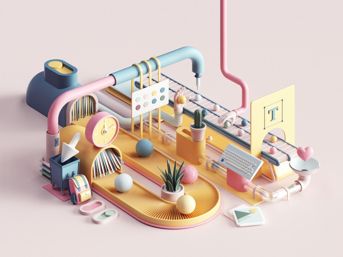 3D abstract c4d catoon cinema4d ILLUSTRATION  Isometric petertarka Render soft