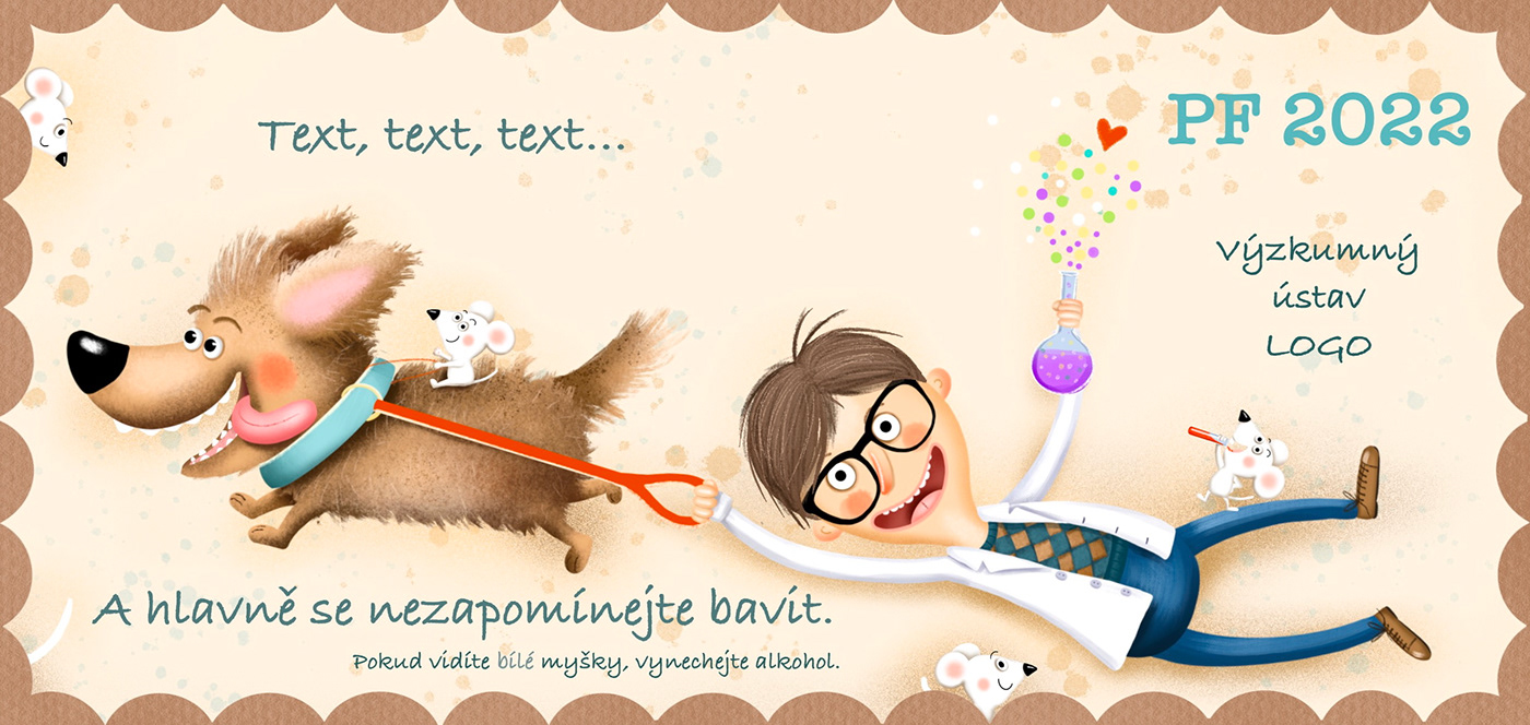 animals children illustration Christmas cute dog mouse pf pour feliciter Scientist winter