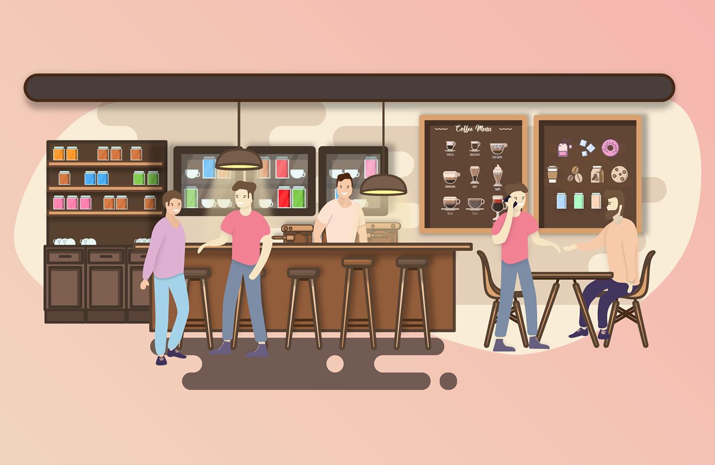 Coffee espresso Icon set cafe sweet caffeine shop