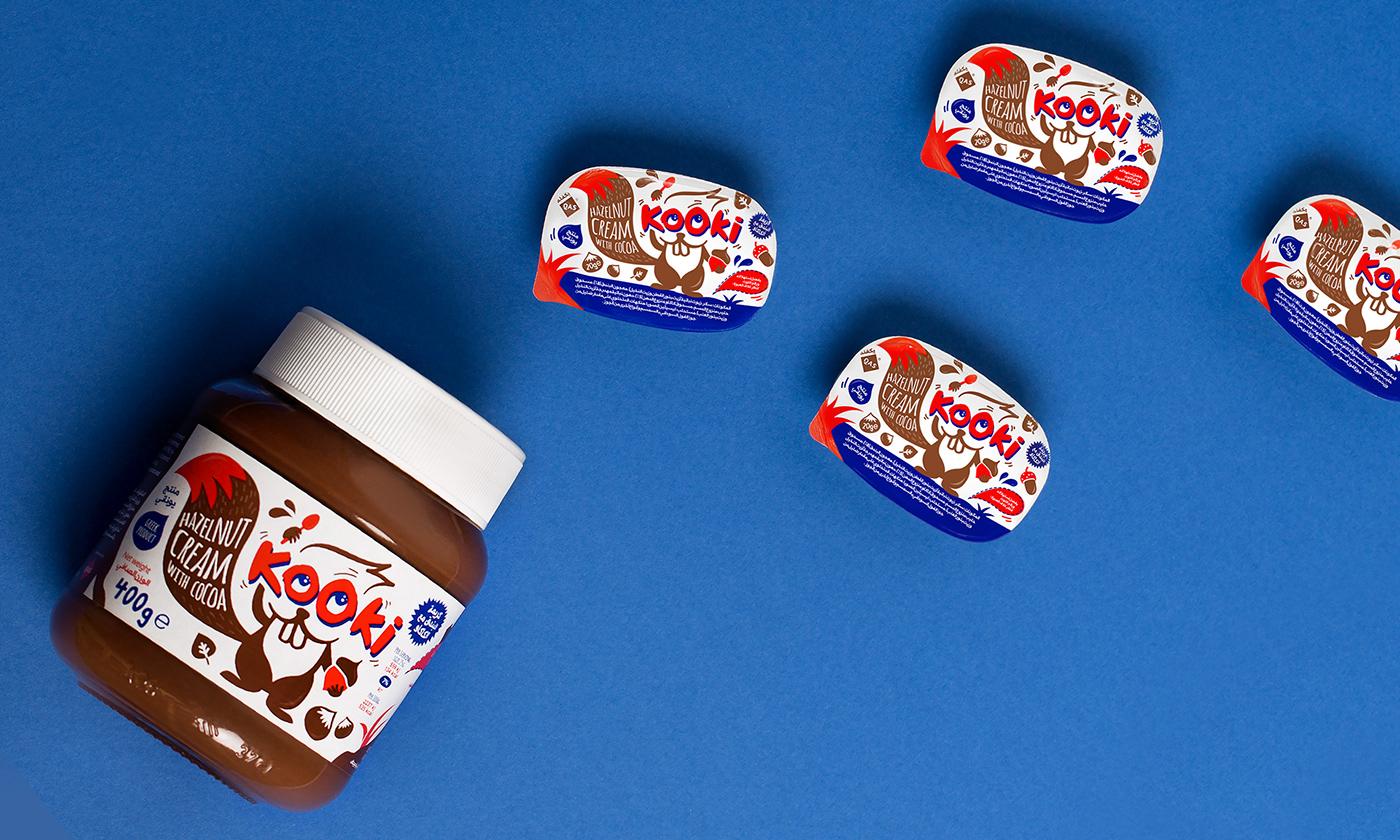 arabic choco chocolate cream hazelnut ILLUSTRATION  label design Packaging spread squirrel