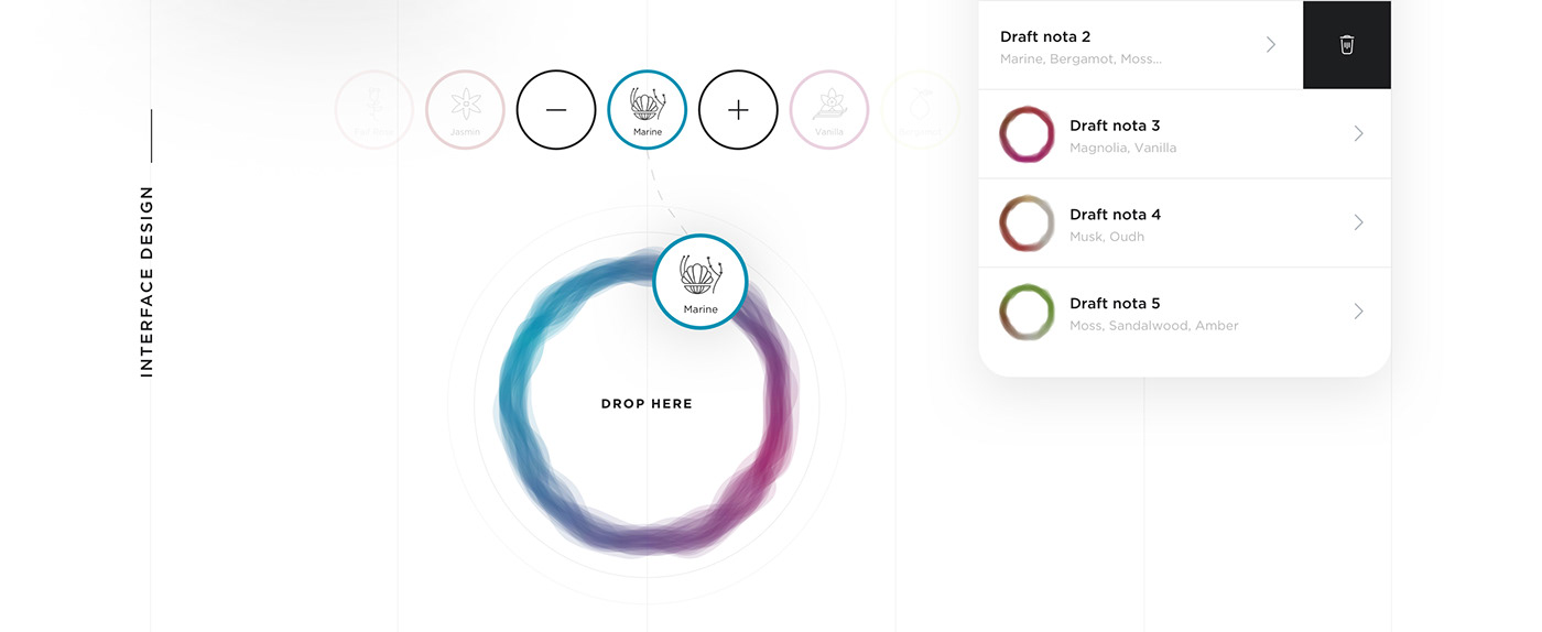 React Native Mobile app IoT minimal interactions motion illustrations smell scent community