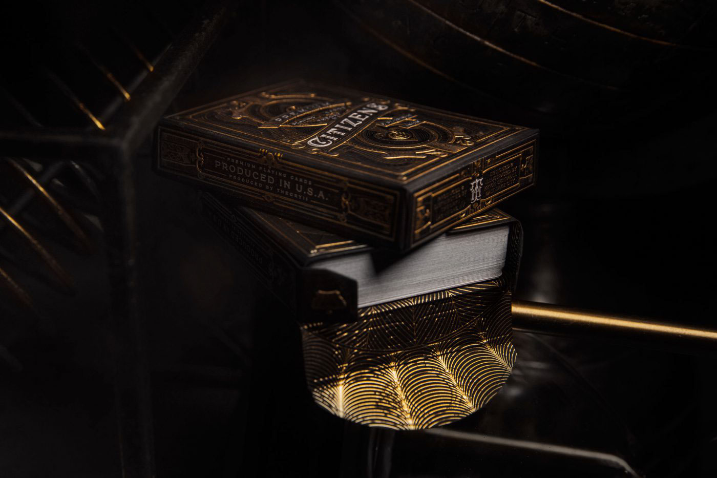 Kevin Cantrell Kevin Cantrell Design theory11 Citizens Playing Cards Playing Cards packaging design playing card design gold foil hot stamping luxury laser-etched Guilloché pattern engraving &reach Satellite Office