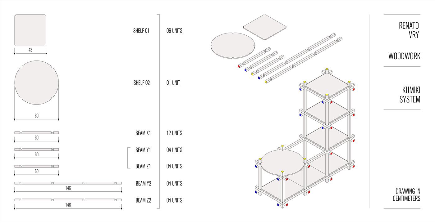 Kumiki System On Behance Ladder Diagrams Are An Adaptation Of Earlier Technology Called For Oficinalabs Workshop The Was Adapted As L Shaped Stand Consisting Two Types Shelves And Four Beams