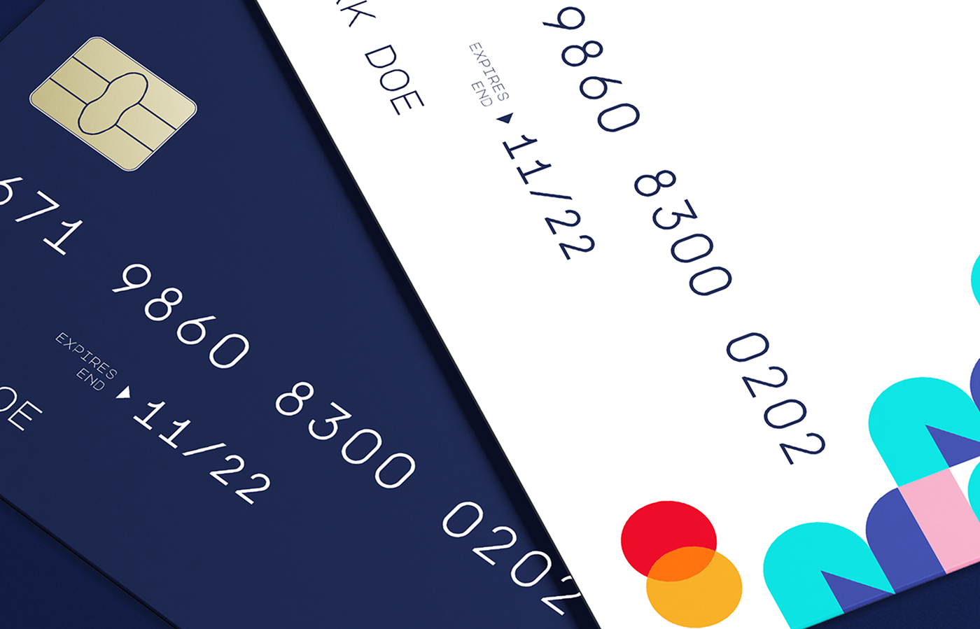 fintech bank credit card design blue and white