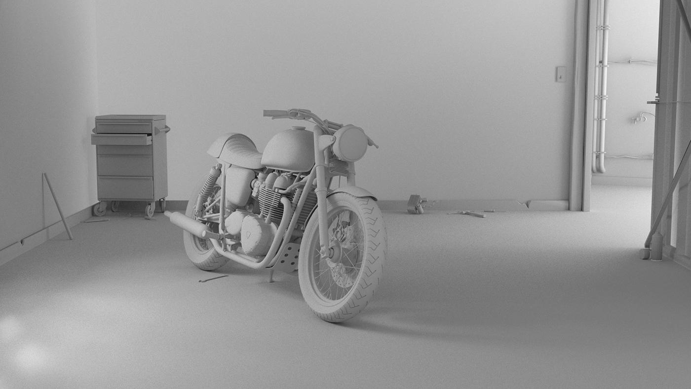 3D CGI cafe racer garage lighting motorbike pixel lab texturing Visualising volumetric