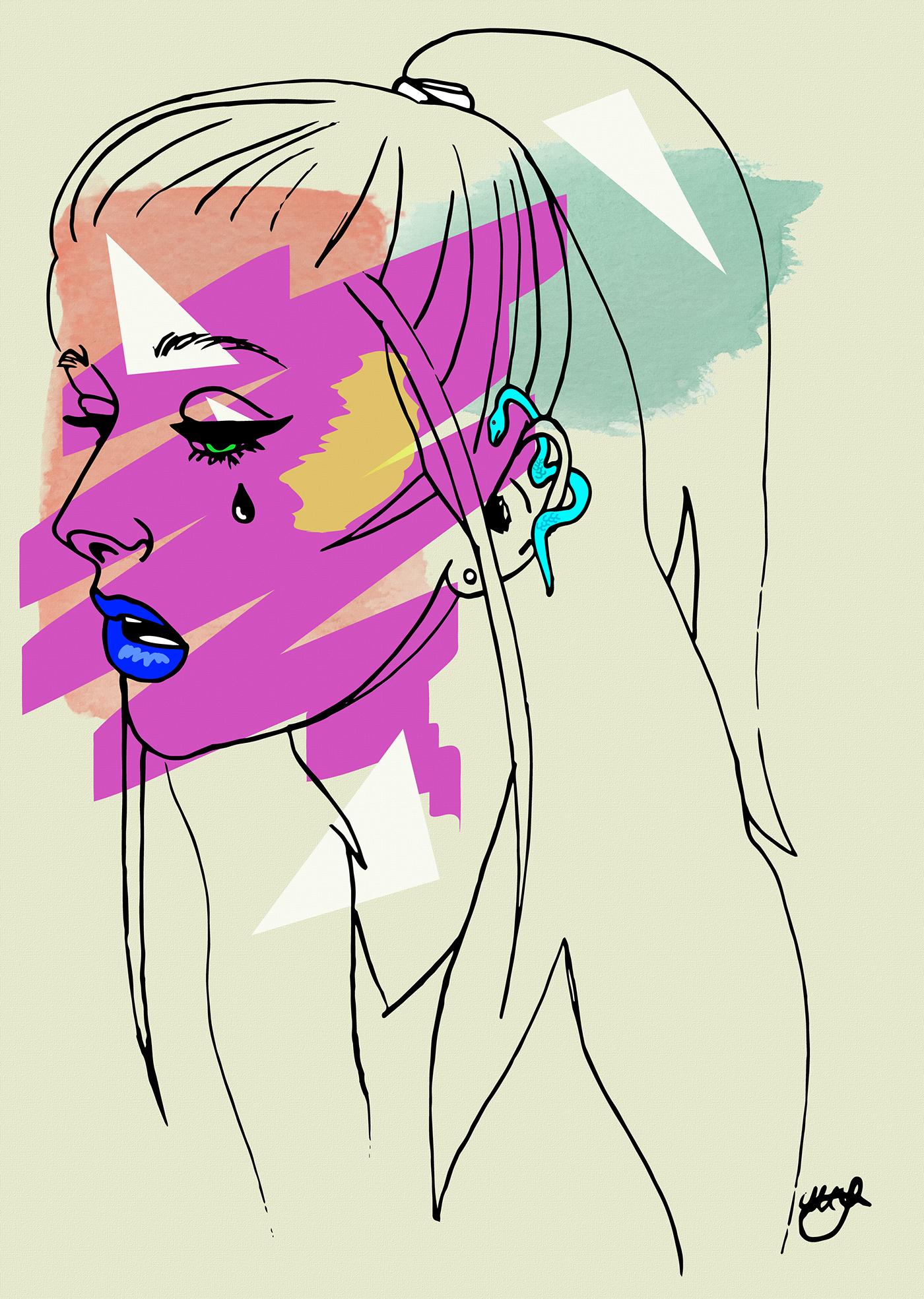self portrait vector watercolor collage ink line art