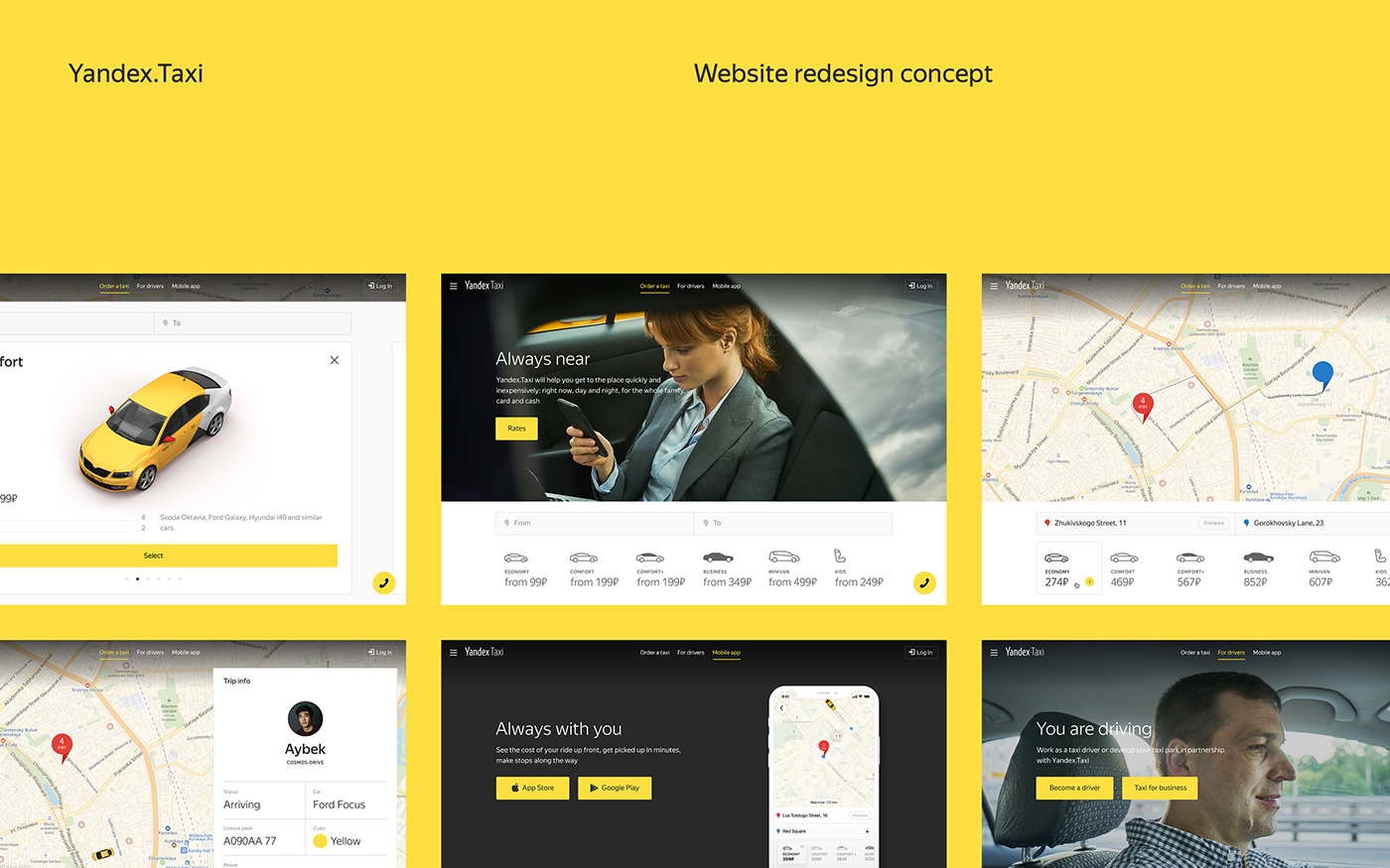 Yandex Taxi Website Redesign Concept on Behance